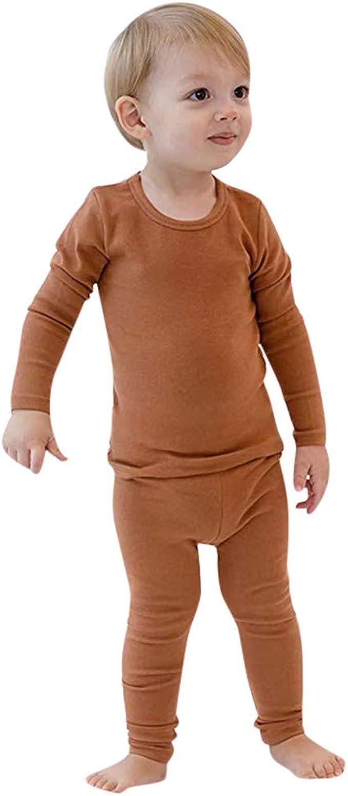 Pijama Infantil de Dos Piezas Bebé Niños Top de Manga Larga de Algodón Pantalones Elásticos Suaves y Cómodos Color Sólido Primavera Delgada Ropa de Dormir Ligera Niña: Amazon.es: Ropa y accesorios