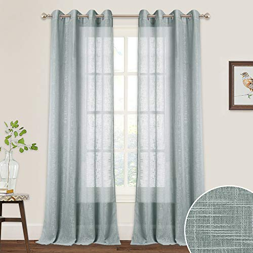 RYB HOME Extra Long Sheer Curtains with Linen Texture Casual Wave Pattern, American Country Style Curtains for Farmhouse/Patio Sliding Glass Door/French Door, 52 inch x 95 inch, 2 Pcs, Grey (Patio Curtains Door Country Style)