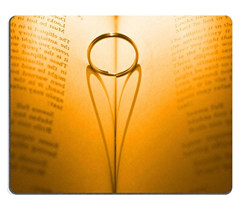 Liili Mouse Pad Natural Rubber Mousepad Ring and heart shaped shadow over a book Golden Tone Photo 12054919