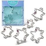 Snowflake Cookie Cutters - 5 Piece Boxed Set - 2 1/2'', 3 1/2'', 4'', 4 1/4'', 4 1/2'' - Ann Clark - US Tin Plated Steel