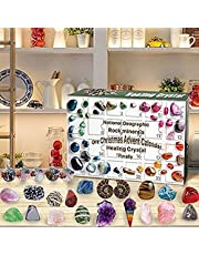 Healing Crystal Advent Calendar 2021 - Christmas Kids Love Rocks Collections Pebbles Polished Gravel Countdown Calendars, Gemstones and Crystals Set with Gift Boxes for Kids Teen Boys Girls Gift