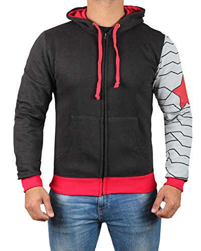 Miracle(Tm) Infinity War Winter Soldier Costume Hoodie - Adult Zipper Sweatshirt for Men (M)