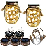Homeleo 5 Pack Handmade Vintage Solar Mason Jar Star Lights Burlap Hangers, Solar Powered Warm White Mason Jar Firefly Lid Light for Xmas Outdoor Garden Summer Backyard Decoration(Jars Not Included)