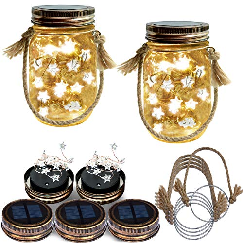 Homeleo 5 Pack Handmade Vintage Solar Mason Jar Star Lights Burlap Hangers, Solar Powered Warm White Mason Jar Firefly Lid Light for Xmas Outdoor Garden Summer Backyard Decoration(Jars Not Included)]()