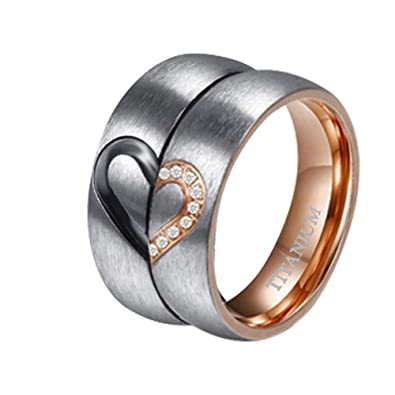 Titanium Wedding Rings.Tigrade 6mm Titanium Wedding Bands Real Love Heart Cz Inlaid Couple Engagement Rings