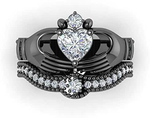 Gy Jewelry Heart AAA Zircon Black Gold Filled Women's Wedding Ring Sets Claddagh Ring Gifts