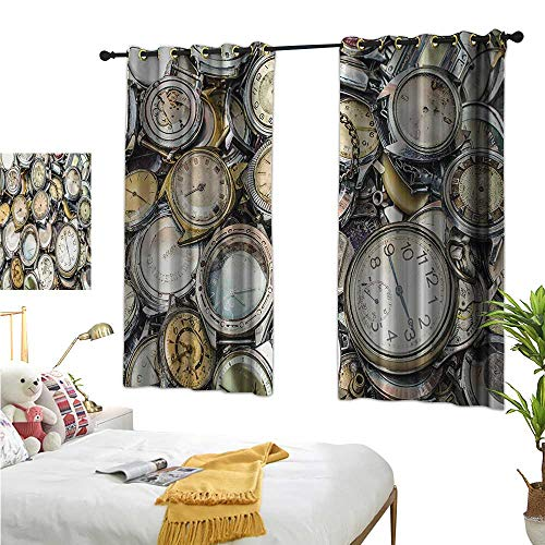Clock Thermal Zebra - Clock Thermal Insulating Blackout Curtain Antique Theme A Pile of Several Different Vintage Style Clocks Retro Pattern Design W55 x L72,Suitable for Bedroom Living Room Study, etc.