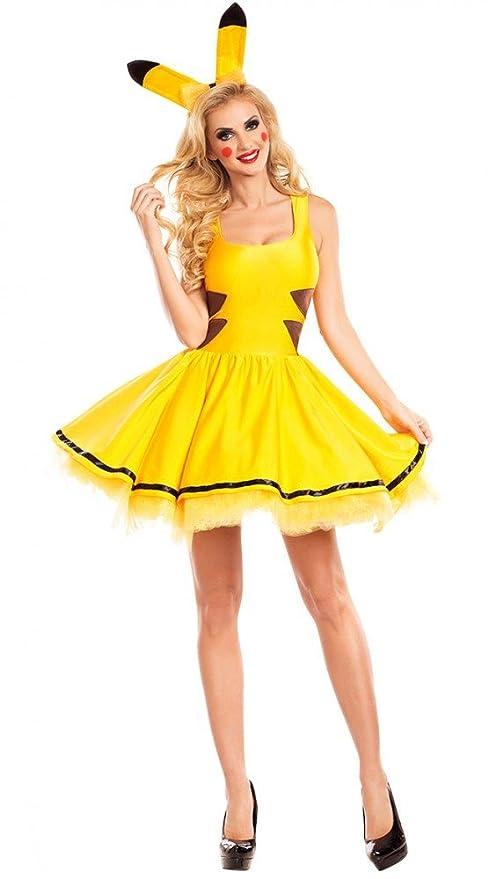 Pikachu Damen Kostüm Sexy Petticoat Kleid Und Haarreif Mit Ohren