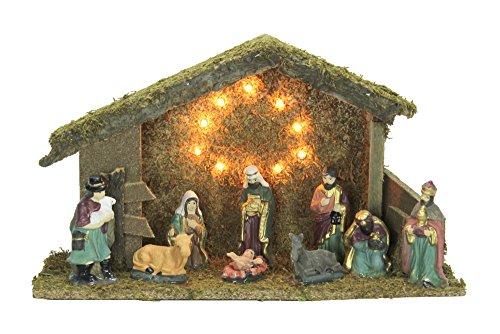 Weihnachtskrippe beleuchtet mit 9 Keramik Figuren 38cm