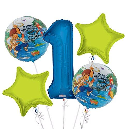 Go Diego Go Balloon Bouquet 1st Birthday 5 pcs - Party Supplies -