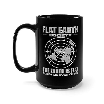 Amazon.com: Flat Earth Society Earth Map Graphic 15 oz Black