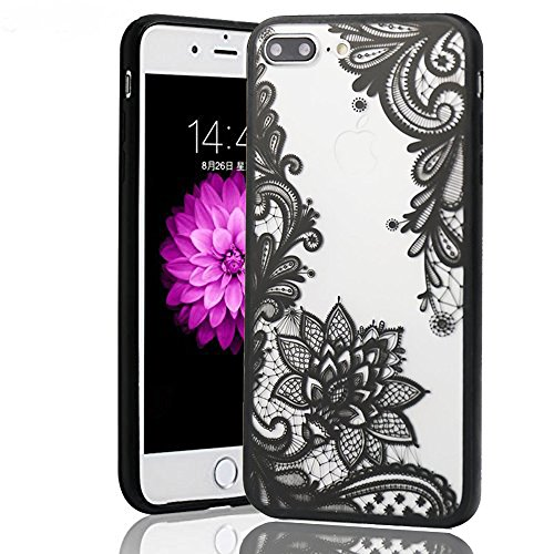 iPhone 7 Plus Case,iPhone 8 Plus Case,HUIYCUU Henna Lace Flower Slim Fit Case Soft Border Matte Hard Back Cover Girls Paisley Datura Design for iPhone 7 Plus / iPhone 8 Plus 5.5 inch ,Black Mandala