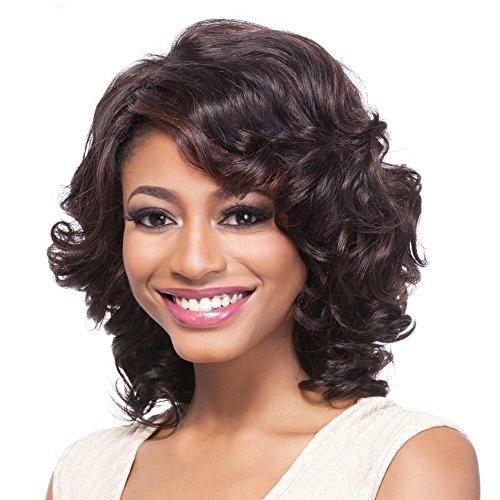 SmartFactory Medium Black Natural Wavy Fluffy Curly Human Hair Wig for Women