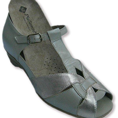 Sandalias cerradas por detrás y punta abierta combinadas beig y metalizadas Pie Santo en beig