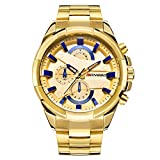 LONGBO Men's Unique Big Face Analog Quartz Swiss Watch Gold Stainless Steel Band Business Wrist Watches Sportive Luminous Waterproof Decorative Chrono Eyes Gold Dial Army Military Watch for Man