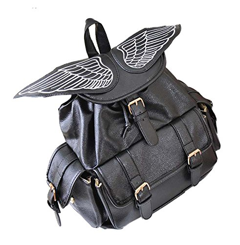 [TOKYO-T Wing Backpack Womens Gothic Angel / Devil School Bag Daypack Black] (Cute Angel And Devil Costumes)