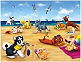 Floor Puzzles - 100-Piece Giant Floor Puzzle, Puppies on the Beach Jumbo Preschool Jigsaw Puzzles for Toddlers, Toy Puzzles for Kids Ages 3 and Up, 27 x 36 Inches
