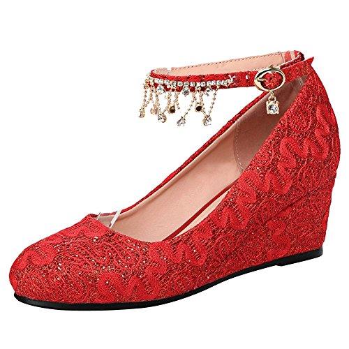 Carolbar Womens Cinturino Alla Caviglia Fibbia Matrimonio Strass Scarpe Con Zeppa Rosso