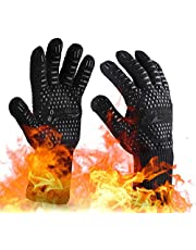 OrgaWise Oven Mitts Heat Resistant BBQ Gloves Heat Resistant up to 1472℉/800℃ Non-Slip Cooking Gloves for Barbecue, Cooking, Baking etc. (Black)