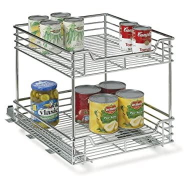 Household Essentials Two-Tier Basket Sliding Cabinet Organizer, Chrome, 14-1/2-Inch