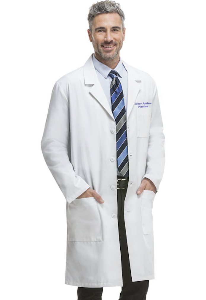 Embroidered Cherokee 40 Inch Easy Access Unisex Labcoat (Large, 1446)