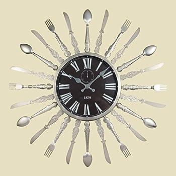 24.25 Inch Metal Utensil Wall Clock