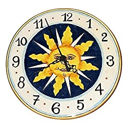CERAMICHE D'ARTE PARRINI - Italian Ceramic Wall Small Clock Small, Decoration Sun Hand Painted Made in ITALY Tuscan Art Pottery