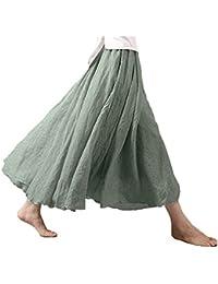 Asher Women's Bohemian Style Elastic Waist Band Cotton Linen Long Maxi Skirt Dress Waist 23.0