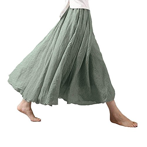 Asher Women's Bohemian Style Elastic Waist Band Cotton Linen Long Maxi Skirt Dress (95CM, Light Green)
