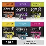 Bestpresso Coffee for Nespresso Original Machine 120 pods Certified Genuine Espresso Variety Pack includes one pack of decaf coffee, Pods Compatible with Nespresso Original