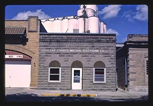 24 x 16 Ready to Hang Gallery Wrapped Fine Art Canvas Print of: Sal County Mutual Telephone Co, West Second Street, Odebolt, Iowa 1987 Roadside Americana, J Margolies 23a ()