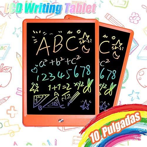 TEKFUN LCD schreibtafel 10 Zoll, buntes magnetisches maltafel zaubertafel, Löschbar und wiederverwendbar schreibtafel, Spielzeug ab 3 Jahre,kinderspiele,Geschenk mädchen,Lehrmittel für Kinder(Orange)