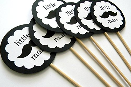 Black and White Little Man Centerpiece Sticks - Set of (Mustache Centerpieces)