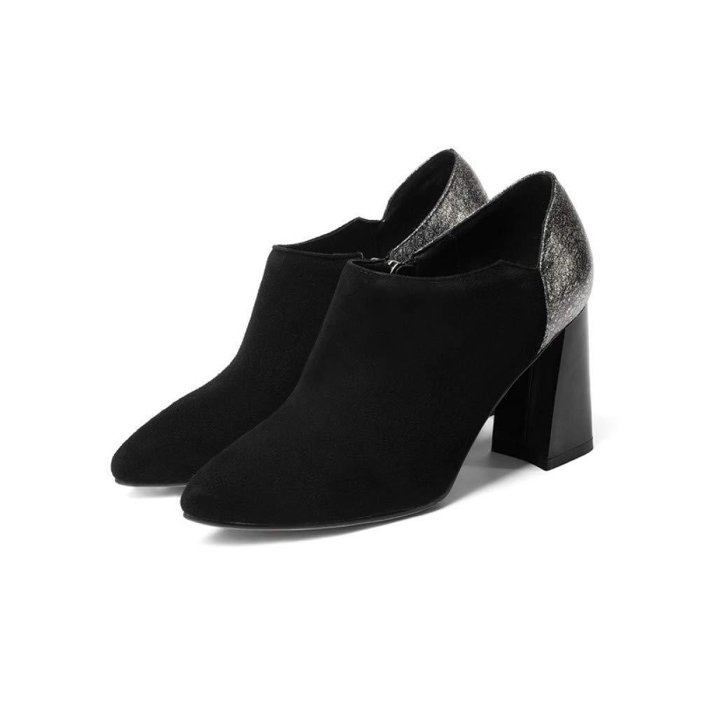 PINGXIANNV Damenschuhe Mode Mischfarben Mischfarben Mischfarben Leder Heels Zip Spitze Außerhalb Von schwarz Lady Pumps B07P419F2P Tanzschuhe Ausgezeichnete Qualität ca6a4d