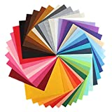 WER DIY Polyester Soft Felt Fabric Squares Sheets 40 Assorted Colors 12x12 inch for Crafts, 1mm Thick with 40pcs