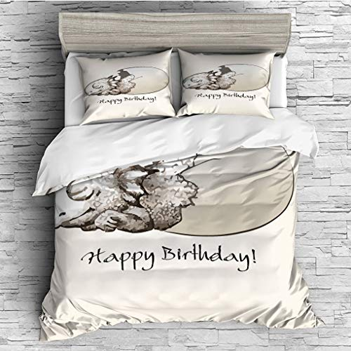 3 Pieces (1 Duvet Cover 2 Pillow Shams)/All Seasons/Home Comforter Bedding Sets Duvet Cover Sets for Adult Kids/Singe/Dinosaur,Happy Birthday Theme Cute Newborn Dinosaur Sleeping Cracked Egg Fantasy F