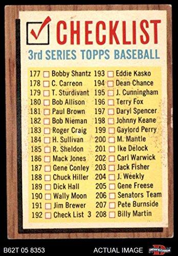 1962 Topps # 192 xCOM Checklist 3 (Baseball Card) (No Comma, says #192 Check List 3) Dean's Cards 3 - VG
