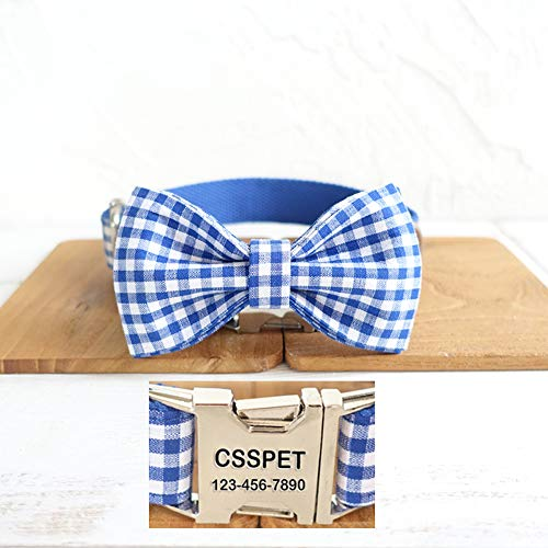 (csspet Personalized Laser Engraved Metal Buckle Blue Plaid Dog Collar Bow Tie,Soft Cotton Collar for Dogs and Cats,Matching Leash Available)