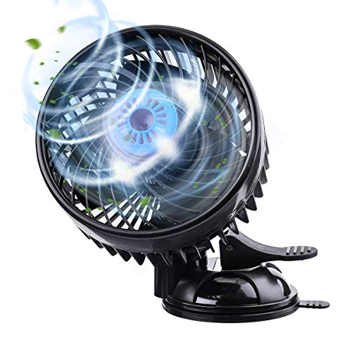 Tvird Electric Car Fan 12V Cooling air Fan with Powerful Adjustable Speed, 360 Degree Rotatable Windshield and Suction Cup Air Circulator for SUV RV Boat Auto Vehicles Golf