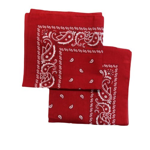 """2 Pack"" PACK OF 2 BANDANAS 100% Cotton, Head Wrap 22"" x 22"" 2 Bandanas in One Pack - red"
