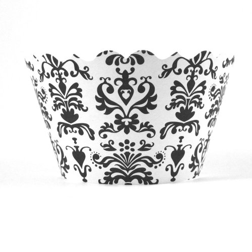 Bella Couture Mini Lu Lu Damask Cupcake Wrappers, Black/White