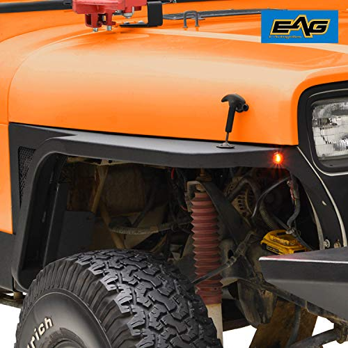 EAG Front Fender with Flair and LED Eagle Lights Fit for 87-96 Jeep Wrangler - Jeep Fenders Tube Yj For