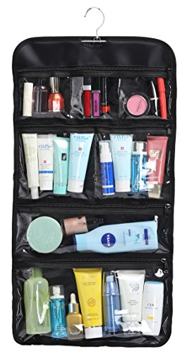 Price comparison product image WODISON Foldable Clear Hanging Travel Toiletry Bag Cosmetic Organizer Storage Black