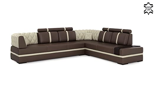 Eck ledersofa braun  Ledersofa Ecksofa Wohnlandschaft Leder Ledercouch Sofa Eck Couch L ...