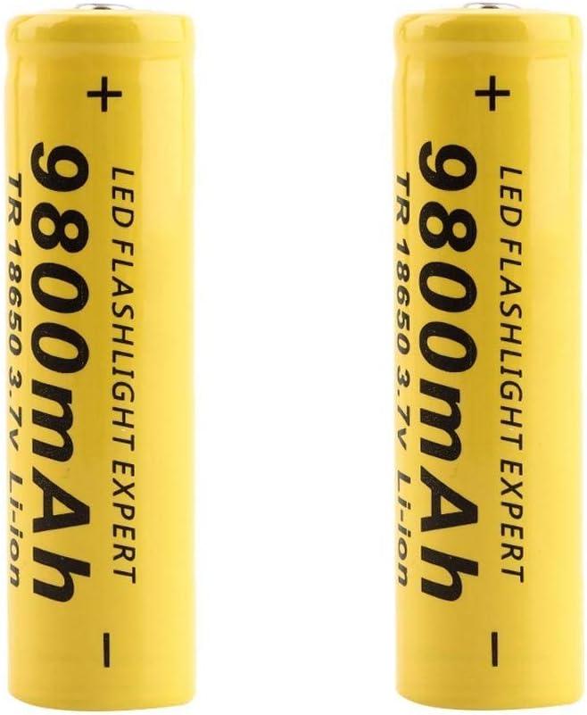 2 PCS 3.7V 18650 9800mAh Capacity Li-ion Rechargeable Battery for Flashlight Torch