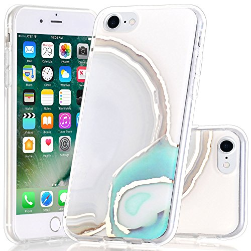 iPhone 7/iPhone 8 Case, BAISRKE Shiny Gold Green Agate Crystal White Background Shock Absorption Soft Clear TPU Edge Bumper and Rigid Hard Plastic Back Cover for iPhone 7 & iPhone 8 (Rose Agate Gold White)