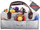 Diaper Caddy,Baby Caddy and Portable Nursery Storage Bin for Baby Wipes, Rash Cream and Toys with Dark Leather Handles and Felt Edges, Ideal for Car Organizer Or Shower Gift with Bonus Changing Mat