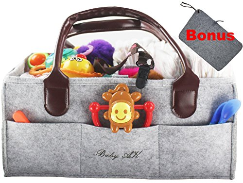 Tool Box Diaper Caddy - Diaper Caddy,Baby Caddy and Portable Nursery Storage Bin for Baby Wipes, Rash Cream and Toys with Dark Leather Handles and Felt Edges, Ideal for Car Organizer Or Shower Gift with Bonus Changing Mat