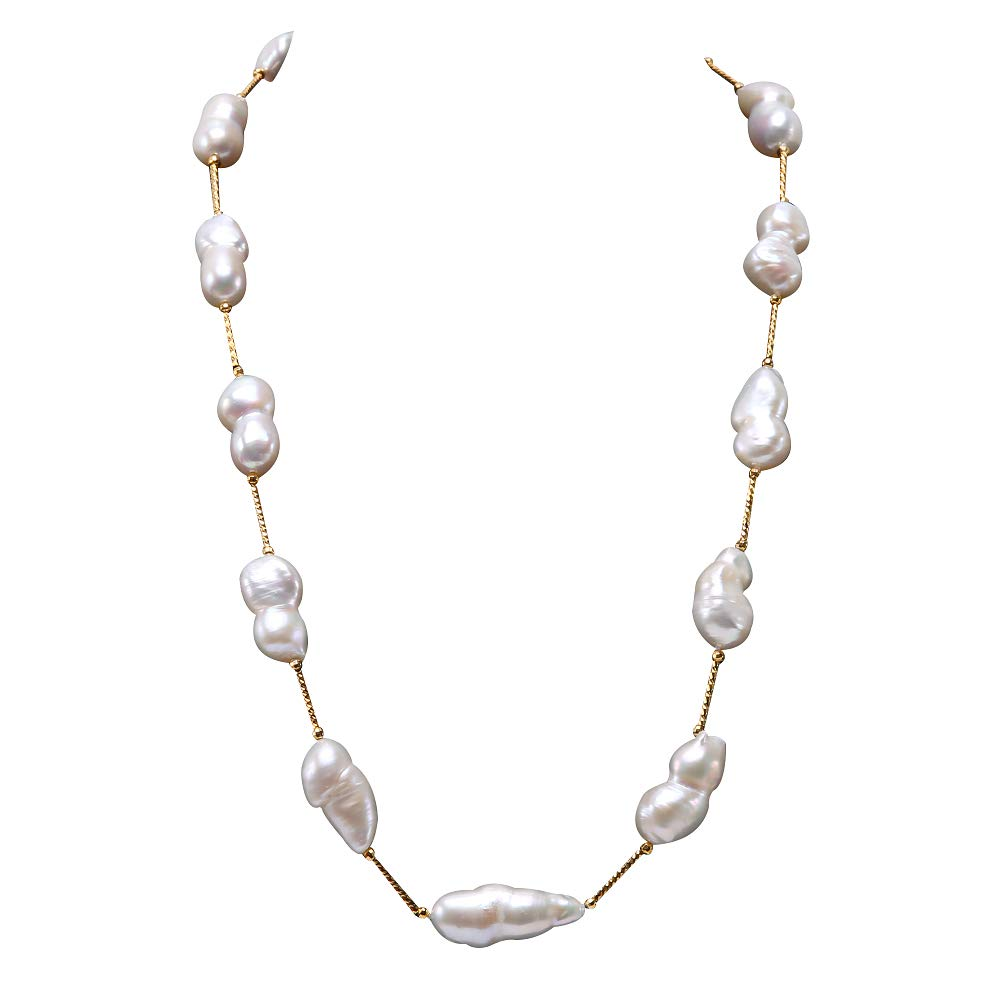 JYX Pearl Tin Cup Station Necklace Baroque White Freshwater Cultured Pearl Necklace