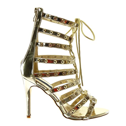 Fashion Shoes Gladiator High Gold Angkorly Rhinestone Heel Women's Stiletto Straps Multi Sandals 10 Boots Ankle Stiletto Studded cm High Booty f15xw5BFq